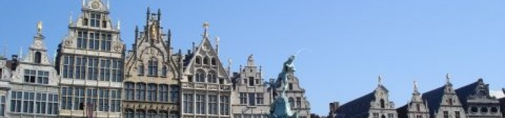 The Grand Place (or 'Grote Markt') of Antwerp is the most famous square in the city. The historic centre of Antwerp is located around the main square and the impressive Notre Dame Cathedral. Around the Grand Place are the famous guild houses, the city hall and numerous restaurants and cafes. Every winter a nice Christmas market and an ice rink are located on the square.   According to a 16th century legend Antwerp owes its name to the giant Druon Antigoon who chopped of the hands of the sailors who did not want to pay toll and who cast them in the Scheldt river. On the Grand Place you will see a statue of the Roman soldier Silvius Brabo who supposedly did the same to the giant after he had slain him. The statue was made by Jef Lambeaux who also made some statues for the gables surrounding the Grand Place, including the equestrian statue on top of the House of Spain building. This 16th century building is the largest house on the square.